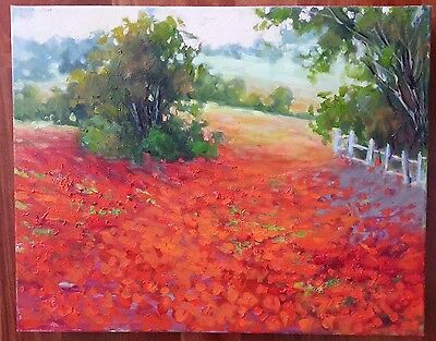 "EVA SZORC Landscape Painting Original Oil On Canvas 20"" x 16"" Red Poppies"