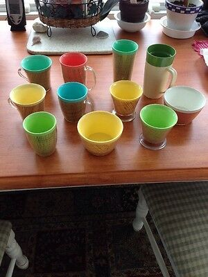 Assorted Raffia Ware Glasses and Bowls
