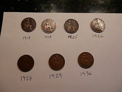 7 x  UK British George V Farthing Coins  Dated  1918 to 1936