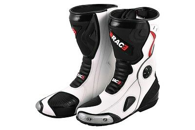 Original Rac3 Motorbike Motorcycle  Real Leather Sports Race Armour Boots New