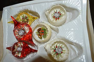 Vintage Diorama Plastic Christmas Tree Ornaments Lot