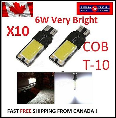 10PCS T10 W5W 194 168 6W LED No Error COB Canbus Side Lamp Wedge Light White DRL
