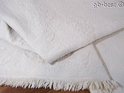 Museum 1810/20s Bride Quilt Antique STUFFED Trapunto New England EXCEPTIONAL
