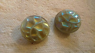 Pair Of Vintage Saphiret Glass Buttons