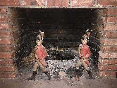 Vintage Andirons Hessian Soldier Old Metal Cast Iron Fireplace Log