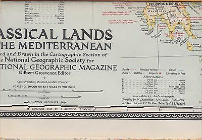 NATIONAL GEOGRAPHIC MAP~ CLASSICAL LANDS of the MEDITERRANEAN~Dec 1949~VERY NICE