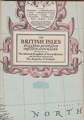 NATIONAL GEOGRAPHIC MAP ~ THE BRITISH ISLES & IRELAND ~ April 1949  ~ VERY NICE