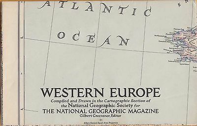 NATIONAL GEOGRAPHIC MAP ~ WESTERN EUROPE ~ Dec. 1950 ~ VERY NICE CONDITION