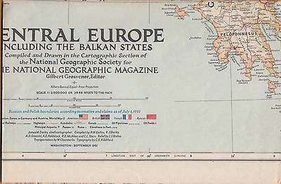 NATIONAL GEOGRAPHIC MAP ~ CENTRAL EUROPE & BALKANS ~ Sept. 1951 ~ VERY NICE