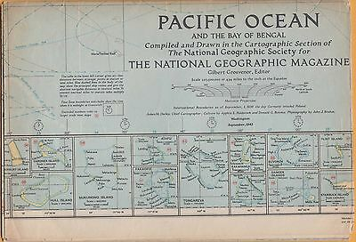 NATIONAL GEOGRAPHIC MAP ~ PACIFIC OCEAN ~ Sept. 1943 ~ VERY NICE CONDITION