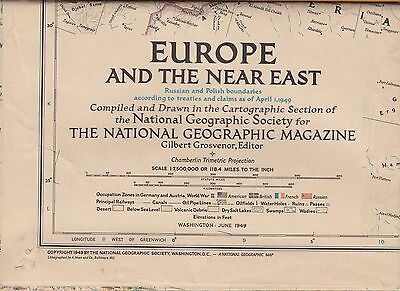 NATIONAL GEOGRAPHIC MAP ~ EUROPE & THE NEAR EAST ~ June 1949 ~ NICE CONDITION