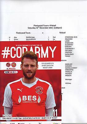 Fleetwood Town v Walsall 2016-17 programme & team sheet