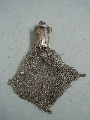 Antique Silver Chain Mail Mesh Coin Purse with Elephant on top