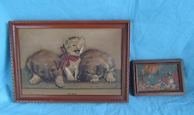 """Vtg Raised Litho 3D Picture Cat Dog Kitten Puppies """"susie"""""""