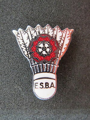 18 x Badminton enamel pin badges in the form of a shuttlecock & letters ESBA