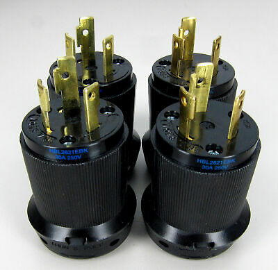 * Lot of 4 * HBL2621 Hubbell 2P3W 30A 250V AC L6-30P Twist-Lock Male Plugs Black