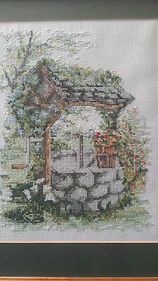 Framed Completed Needlepoint Wishing Well Garden Scene Tiny Hand Worked Stitches