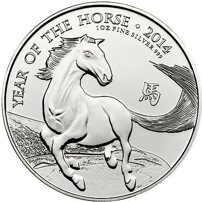 2014 British Royal Mint UK 1 oz Silver Coin Lunar Horse 2 Pounds  in capsule