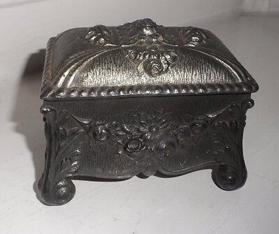Victorian Decorative Pewter Trinket /Dressing Table Box c-1880's No Reserve