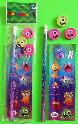 Bulk Lot x 10 MONSTERS 5 Pce Stationery Packs Boys Party Favors Novelty Toy NEW