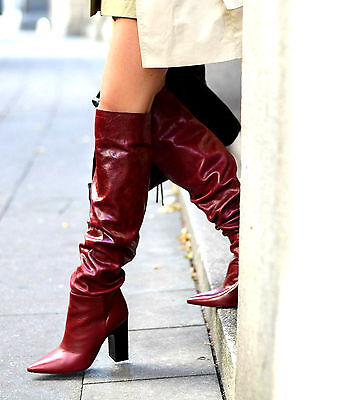 Zara Leather High Heel Pointed Over The Knee Boots Wide Leg Size Uk 6 39