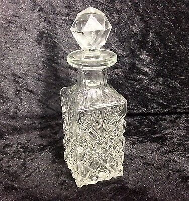 Antique Pressed Glass Perfume Bottle Cologne Faceted Stopper Vintage Glass