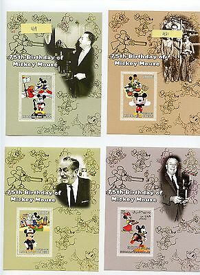BENIN 75th ANNIVERSAARY OF MICKEY MOUSE SET OF SOUVENIR SHEETS MINT NEVER HINGE