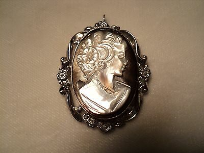 Vintage Tor Sterling Silver Cameo Brooch/pendant