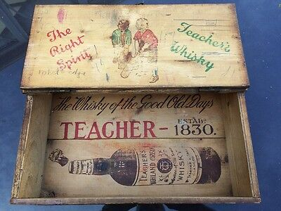 Teachers Whisky- Vintage Wooden Advertising Box with Lid
