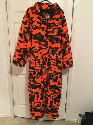 Mens Size 2XL WINCHESTER HUNTING SUIT Insulated Coveralls Orange Camo Hooded XXL