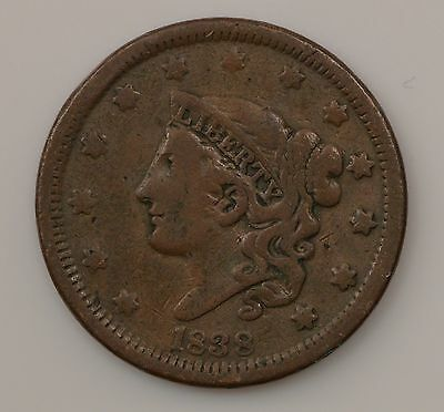 """1838 Matron Head Large Cent, """"Young Head"""" *Q97"""