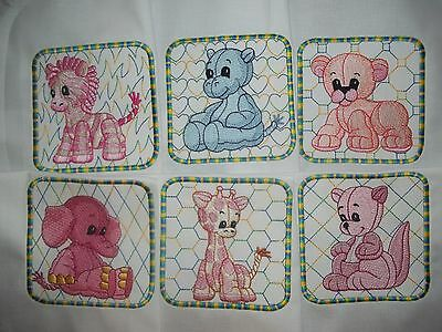 Set Of Six Stuffed Animals Embroidered Quilt Squares - Variegated Set #1