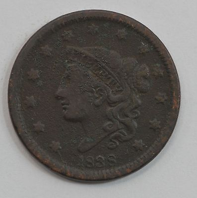 """1838 Matron Head Large Cent, """"Young Head"""" *G07"""