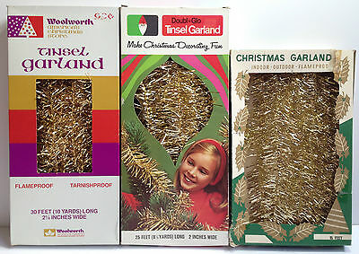 Christmas Lot3 Metallic Gold Tinsel Garland Woolworth Doubl-Glo Retro Decorating