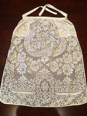 Women's Vintage Long Hostess Cream Ivory Lace APRON 2 Pocket One Size Fits Most