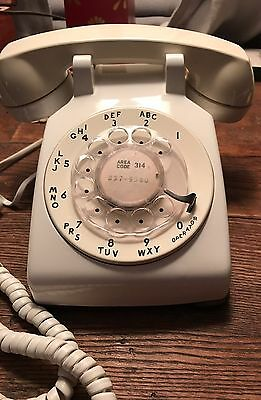 White Rotary Desktop Telephone Phone Bell System Western Electric