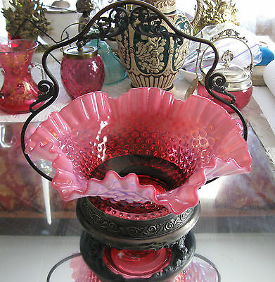 Exceptional ! Antique Cranberry Opalescent Glass Bride's Bowl & Basket Holder