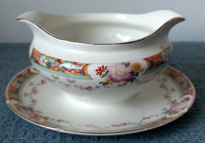 Antique ~ J & G Meakin ~ England ~ SOL ~ SAUCE / GRAVY BOAT with UNDERPLATE