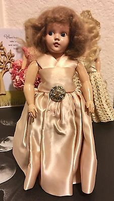 """VINTAGE 8"""" Hard Plastic Doll with Hand-Sewn Pink Satin Dress and Posable Arms"""