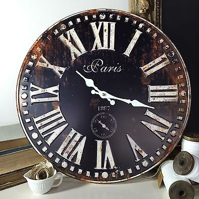 Large 40cm Black Metal Face Wall Clock/Rustic Roman Numerals/Industrial/Country
