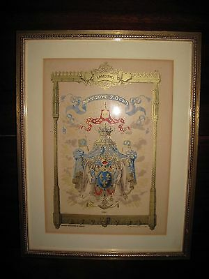 Antique French Chromolithograph GODEFROY ENGELMANN COAT OF ARMS FRANCE Gilded