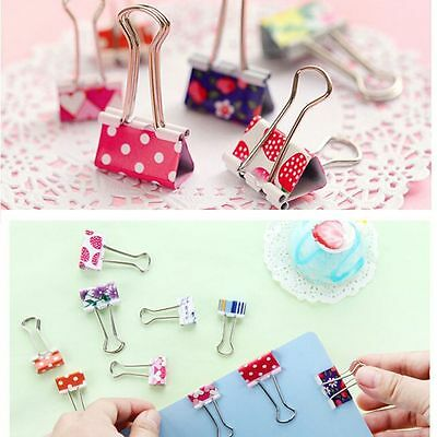 Lovely Stationery Color File Cute Flower Office Clips Binder Metal Paper 20Pcs