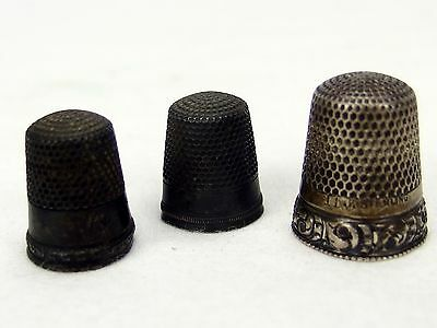 Lot of 3 Sterling Thimbles Anchor & Star Mark Size 7 & 11