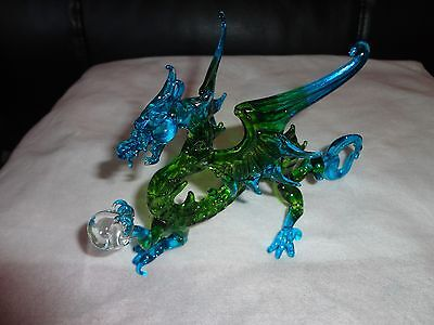 Dragon Blue and Green Figurine of Blown Glass Crystal