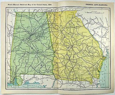 Original 1906 Dated Railroad Map of Georgia & Alabama