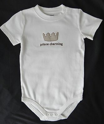 New Gymboree Baby Boy Short Sleeve Ivory Bodysuit 12-18 Months ~ PRINCE CHARMING