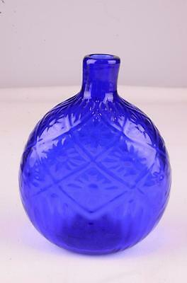 Vintage Art Glass Bottle Flask Pontil Quilted Pattern Cobalt Blue Mma Signed