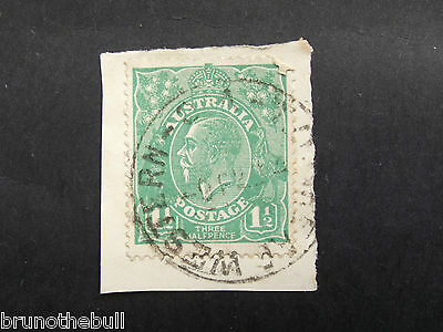 KGV 1 1/2d Green On Piece. T.O. Great Western Victoria Postmark.