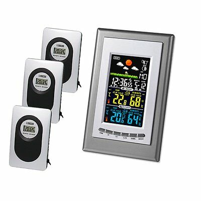 Weather Station Clock Thermometer Humidity Temperature With 3 Remote Sensors