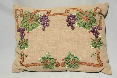 Fab Mint Arts Crafts Nouveau Grapes Beads Linen Silk Embroidered Pillow Stickley
